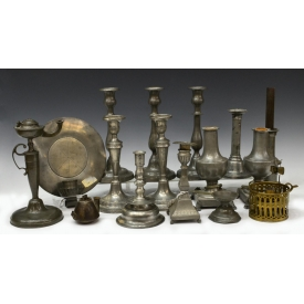 COLLECTION PEWTER & METAL CANDLESTICK HOLDERS
