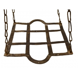 RUSTIC CONTINENTAL IRON HANGING POT RACK