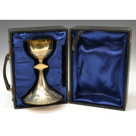 CONTINENTAL 800 SILVER ENGRAVED CHALICE IN BOX