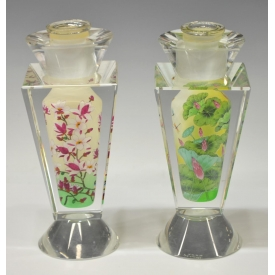 (2) JACARTE INSIDE PAINTED CRYSTAL VASES
