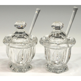 (2) BACCARAT CRYSTAL  MISSOURI CONDIMENT JARS