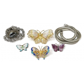 VINTAGE ENAMEL & STERLING BUTTERFLY PINS & JEWELRY