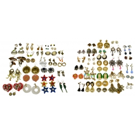 HUGE COLLECTION VINTAGE COSTUME JEWELRY EARRINGS