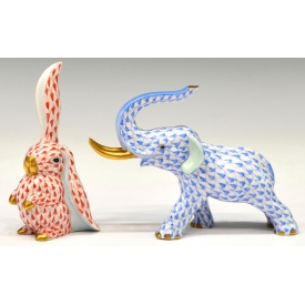 (2) HEREND FISHNET PORCELAIN ELEPHANT & RABBIT
