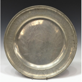 18TH C. LOUIS XVI WRIGGLEWORK PEWTER CHARGER