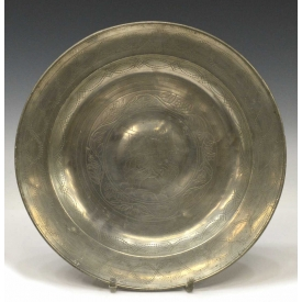 SCARCE ENGRAVED PEWTER ALMS BOWL, LIKELY 18TH C.