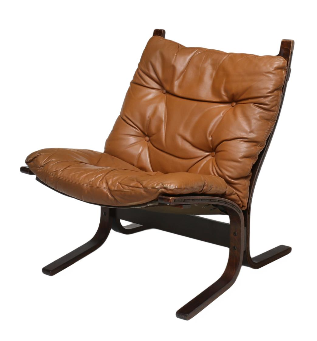 Danish Modern Leather Cushioned Sling Chair Magnificent