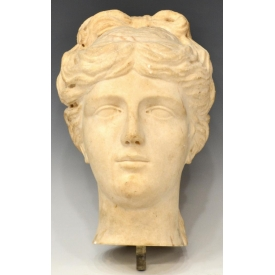 CONTINENTAL CARVED MARBLE HEAD, CLASSICAL BEAUTY