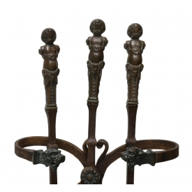 (4) CONTINENTAL BRONZE & IRON FIREPLACE TOOL SET