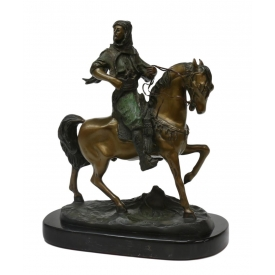 AFER BAYER, ARAB ON HORSE, ORIENTALIST BRONZE