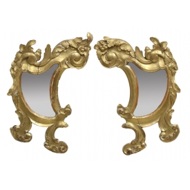 (2) 19TH C. CONTINENTAL GILTWOOD WALL MIRRORS