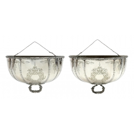 MARTIN HALL & CO CHASED SILVERPLATE WALL POCKETS