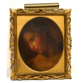 FRAMED OIL PAINTING ON WOOD PANEL, 17TH C