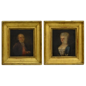 PAINTINGS: PORTRAIT OF A LADY & GENTLEMAN, 18TH C.