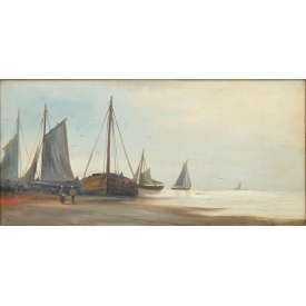 FRAMED  PAINTING, HEADING TO SEA, 19TH C.