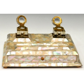 19TH C. MOTHER-OF-PEARL DUAL INKSTAND WITH DRAWER