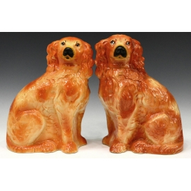 (2) LARGE VICTORIAN STAFFORDSHIRE SEATED DOGS