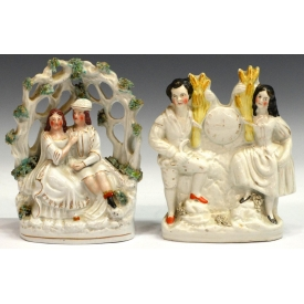 (2) ENGLISH STAFFORDSHIRE FIGURAL GROUPS