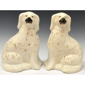 (2) ENGLISH VICTORIAN STAFFORDSHIRE POTTERY DOGS