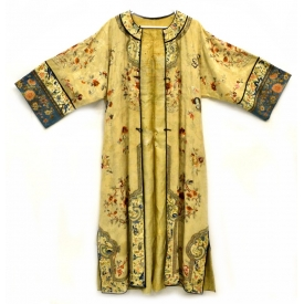 19TH C. CHINESE EMBROIDERED SILK LADIES ROBE