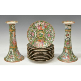 (12) CHINESE EXPORT ROSE MEDALLION TABLE ARTICLES