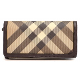 BURBERRY BEIGE & BROWN CHECK LONG WALLET
