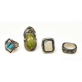 (4) SOUTHWEST SILVER & STONE RINGS, (1)ROIE JACQUE