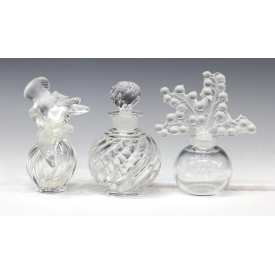 (3) LALIQUE & BACCARAT COLORLESS SCENT BOTTLES