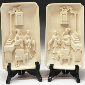 (2) CHINESE IVORY TUSK FIGURAL COURT SCENE SCREENS