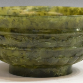 CHINESE CARVED SPINACH JADE BOWL