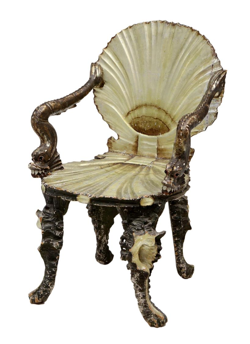 VENETIAN SHELL U0026 DRAGON CARVED GROTTO CHAIR