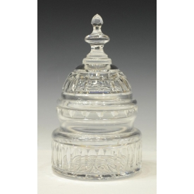 (1)LARGE WATERFORD CRYSTAL CAPITAL DOME LIDDED JAR