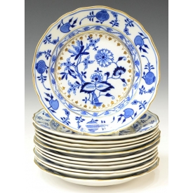 (12) BLUE ONION PATTERN BOWLS, MEISSEN & OTHER