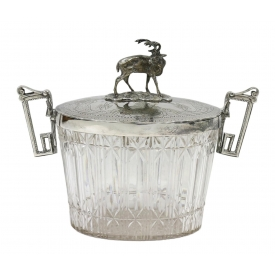 SHEFFIELD SILVERPLATE & CUT GLASS STAG BISCUIT JAR