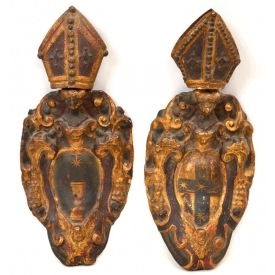 (2) ITALIAN 18TH C. RELIGIOUS WALL SCONCES