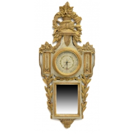 DECORATIVE FRENCH CARVED & PARCEL GILT BAROMETER