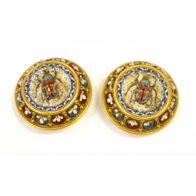 ANTIQUE GOLD SCARAB MICRO MOSAIC INLAID CUFF LINKS