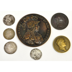 (7) MEDALS & COIN, FRENCH 18TH CENTURY, 1602 COIN