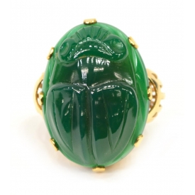 LADIES VINTAGE GOLD & GREEN CHALCEDONY SCARAB RING