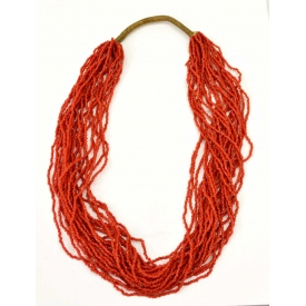 CHINESE MULTI-STRAND BEADED RED CORAL NECKLACE