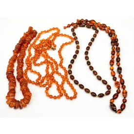 (4) LADIES VARIOUS AMBER BEADED NECKLACES