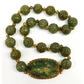 CHINESE BEADED JADE & 14KT TRIM NECKLACE