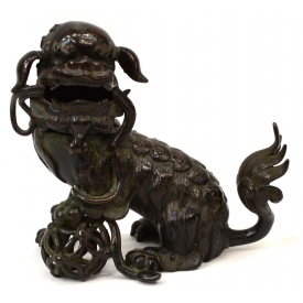 ANTIQUE CHINESE BRONZE FIGURAL FOO LION CENSER