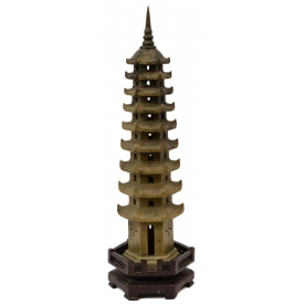 TALL CHINESE CARVED SOAPSTONE MODEL OF A PAGODA