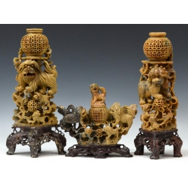 (3) LARGE CHINESE FIGURAL CENSER GARNITURE SET