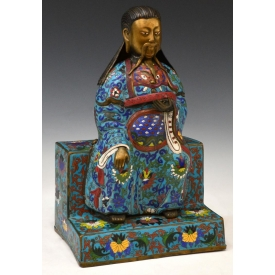 LARGE CHINESE CLOISONNE ENAMEL SEATED FIGURE