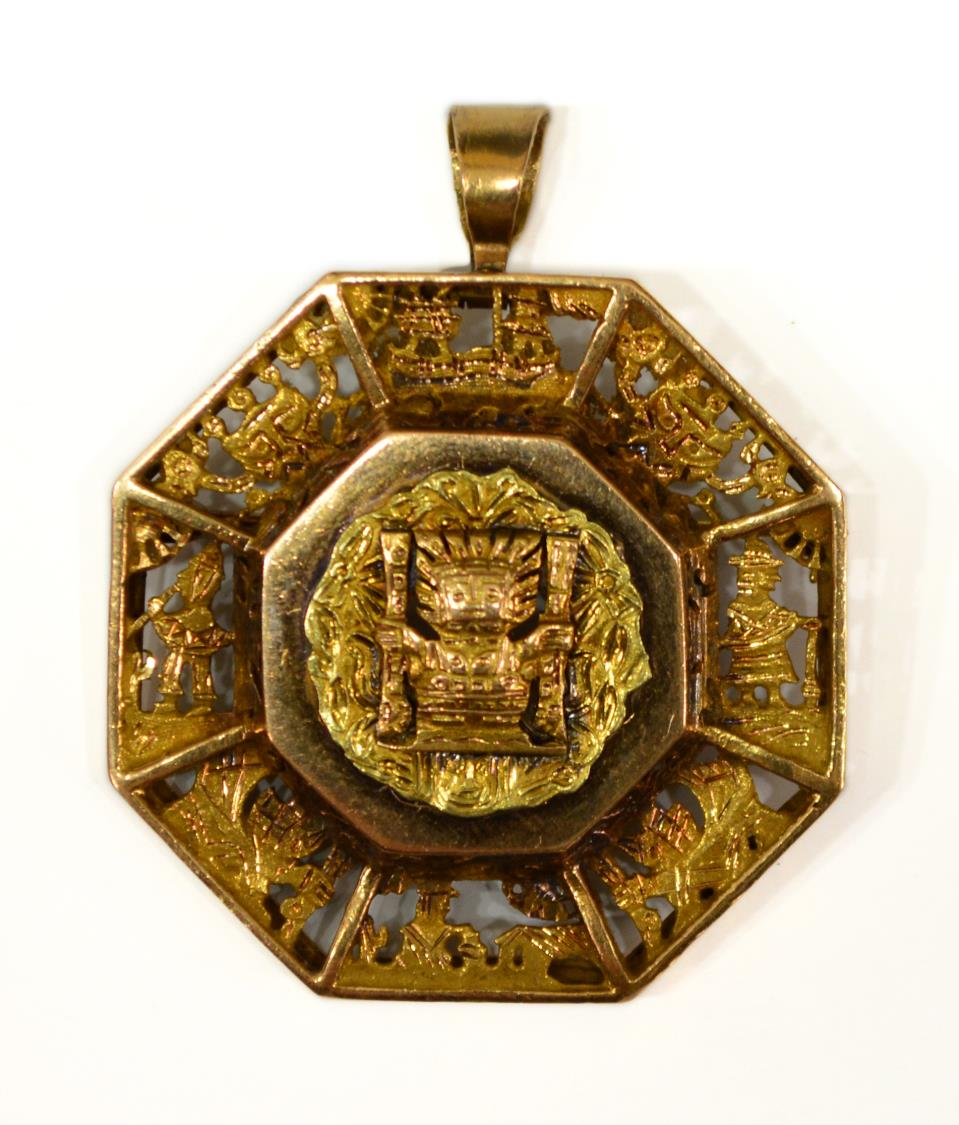 estate peruvian 18kt gold inca estate pendant pin