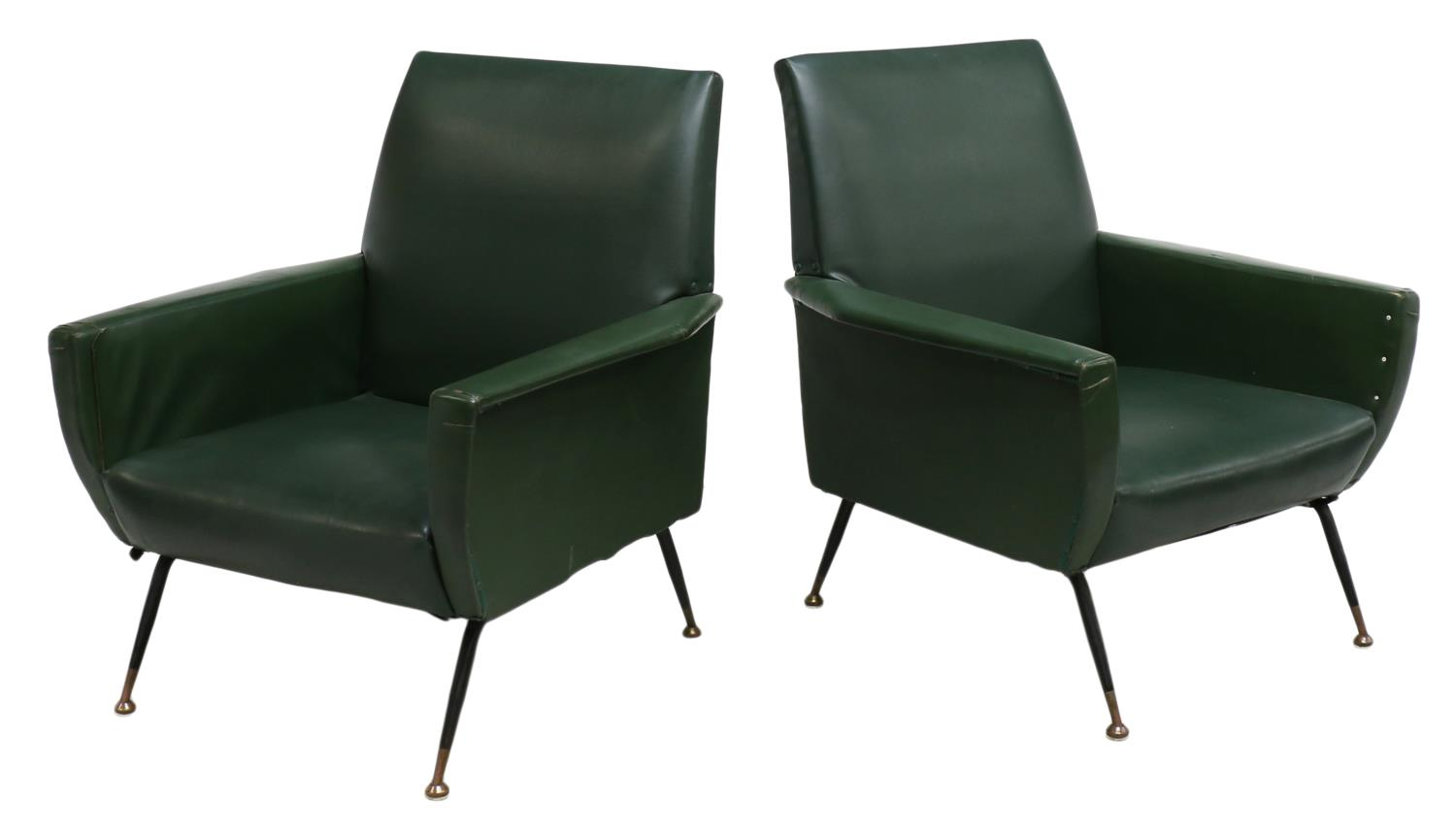 2 italian mid century modern leather arm chairs for Mid century modern leather chairs