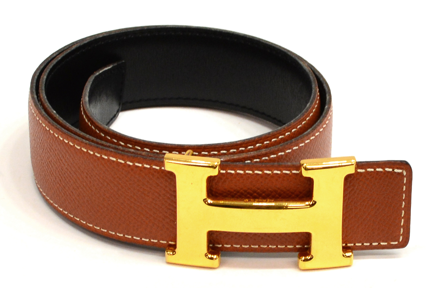 hermes brown leather belt gold tone h buckle