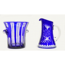 (2) FINE COBALT CUT TO CLEAR ICE BUCKET & PITCHER